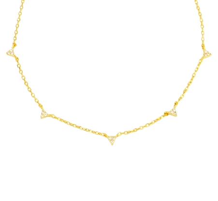 Triangulito Oro es un delicado collar de plata con varios colgantes de mini cuernos repletos de diamantitos.