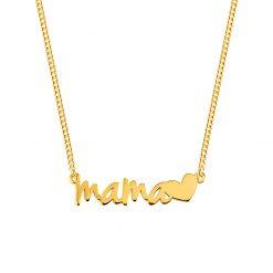 """Colgante Mamá Corazón. Collar de plata de ley de fina cadenita con colgante """"Mamá"""" y un pequeño corazón. Regalo día de la madre."""