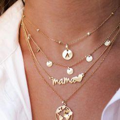 Colgante Mamá Corazón Plata. Collar de plata de ley de fina cadenita con colgante