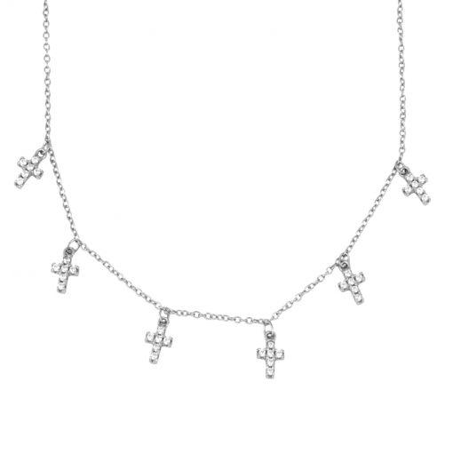 Colgante Cruz Plata. Cadena plateada con Colgante Cruz hecho en plata de ley 925. Charms de cruces con circonitas.