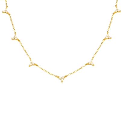 Colgante Florecita Plata Oro es un delicado collar de plata con varios colgantes de mini flores repletas de diamantitos.