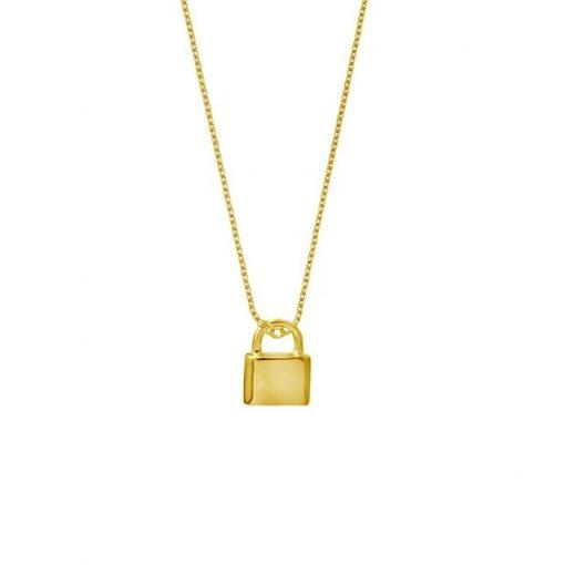 Colgante Candado Oro 18 k. Collares cadena con candado dorado. Cadena fina con un charm colgante de candado.
