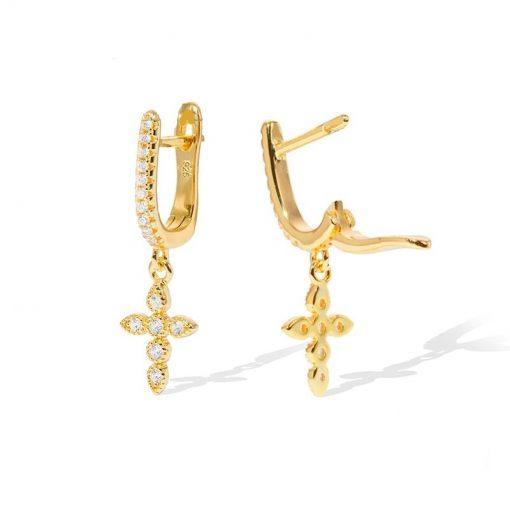 Pendientes Cruz Oro 18k. Pendientes de cruz oro dorados con charm en forma de cruces con circonitas.