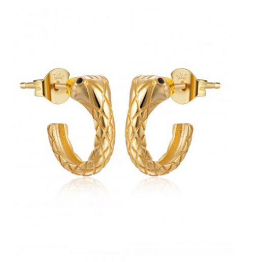 Pendientes de aro Serpentón Oro Plata. Pendientes aros de oro en forma de serpiente. Pendiente de animales.