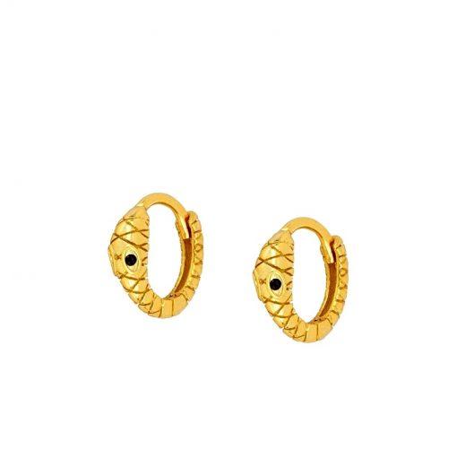 Pendientes Serpiente Oro Aro. Mini pendientes serpientes dorados. Aros de oro en forma de serpiente con ojitos negros.
