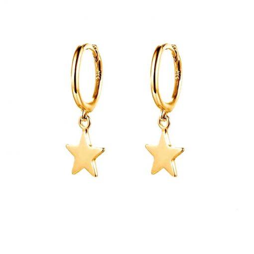 Pendientes Aro Estrella Oro. Pendientes aro con estrella colgante dorados realizados en plata de ley 925 chapados en oro 18 k.