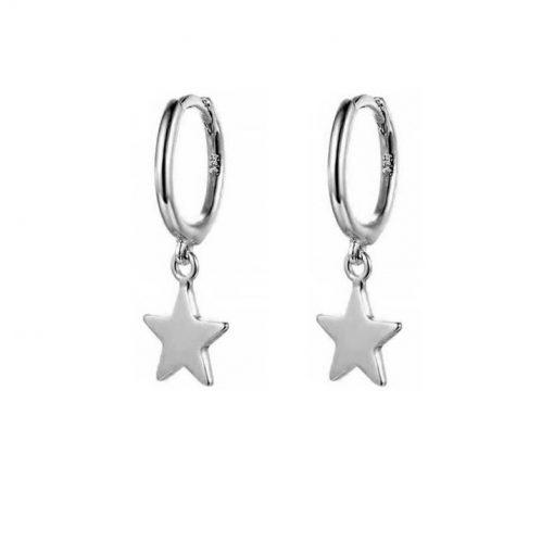 Pendientes Aro Mini Estrella Plata Oro. Par de pendientes de aro mini de oro plata con pequeño colgante de estrella.