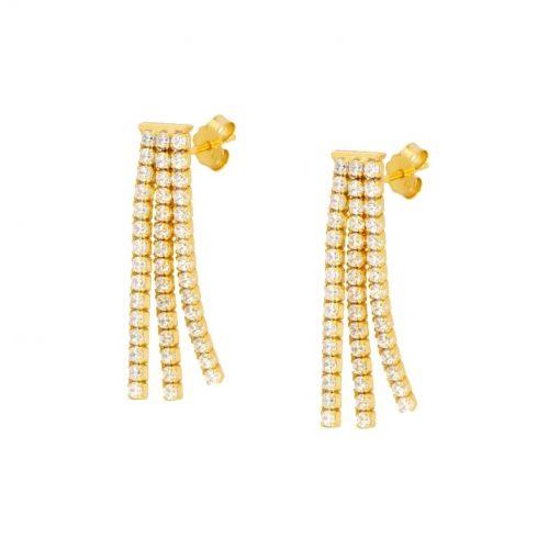 Pendientes Borla Oro Plata son un cañón de luz. Pendientes largos de boda y fiesta en oro con diamantes. Delicados y elegantes.