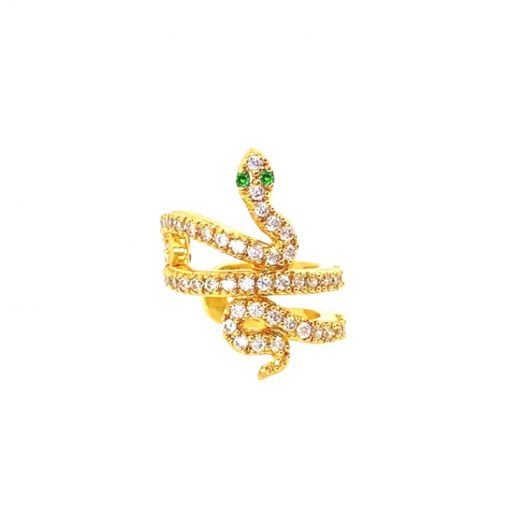 Pendiente Ear Cuff Sneaky Oro. Pendiente sin agujero dorado con una pequeña serpiente de pavé de brillantes, con esmeraldas.