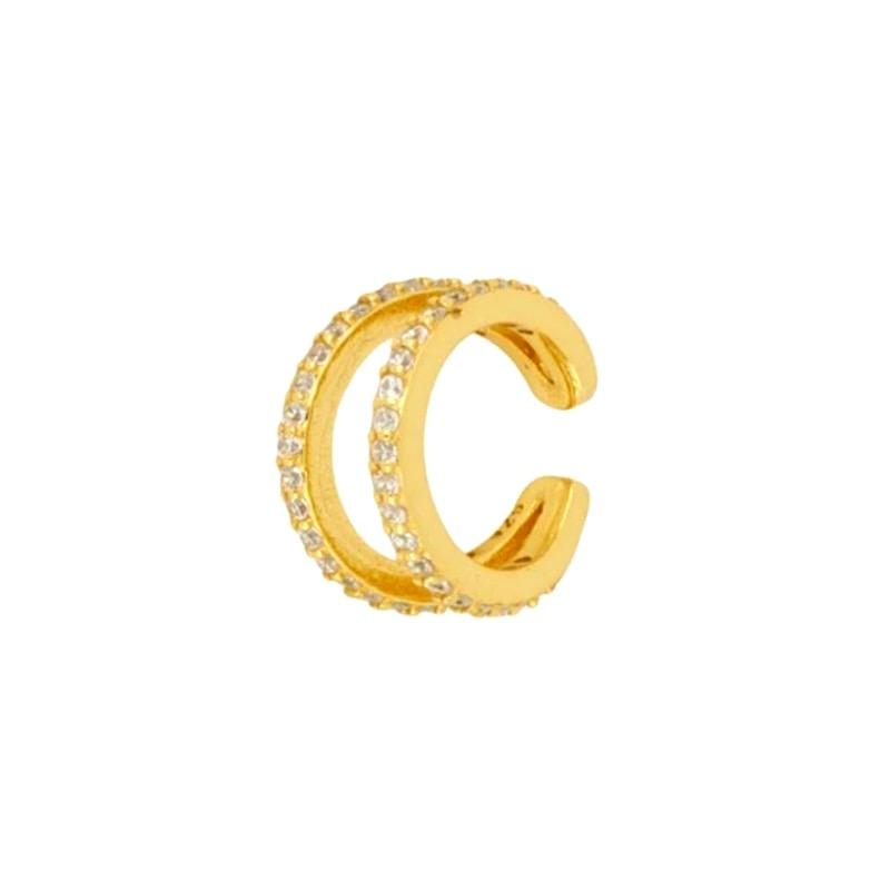 Nuestro Pendiente Ear Cuff Olivia Oro delicado y con personalidad.Pendiente sin agujero de oro con diamantes Dorado.