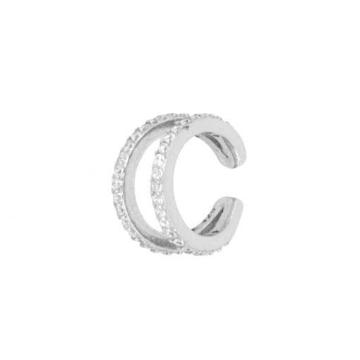 Nuestro Pendiente Ear Cuff Olivia Plata delicado y con personalidad.Pendiente sin agujero de plata con diamantes Plateado.