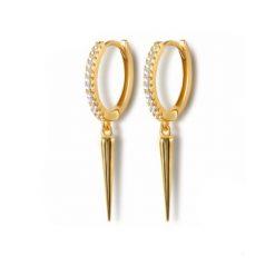Pendientes de moda Punk Oro Plata dorados plateados. Pendientes de aro mini de plata y oro con pequeños diamantes y colgante de pincho.