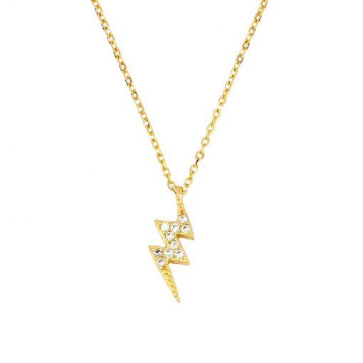 Colgante Rayo Oro. Collar de cadena dorada fina con un mini charm en forma de rayo con circonitas en oro 18 k.