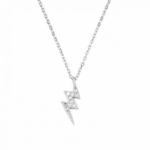 Colgante Rayo Plata. Collar de cadena plateada fina con un mini charm en forma de rayo con circonitas en plata de ley 925