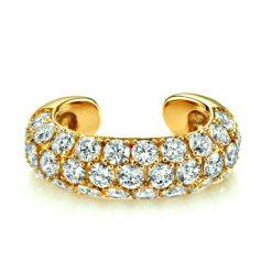 Pendiente Earcuff Shiny Blanco Oro. Pendientes earcuff dorados de oro con cristales de varios colores. Pendientes sin agujero.