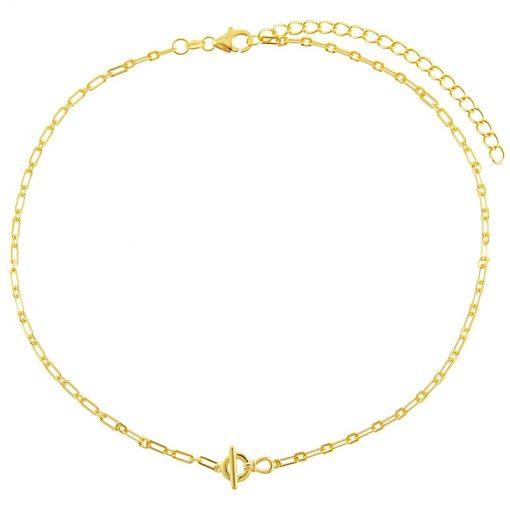 Collar Mitad y Mitad Cadena Oro es lo más trendy: collar de dos tipos de cadenas diferentes, colgante hecho en oro.