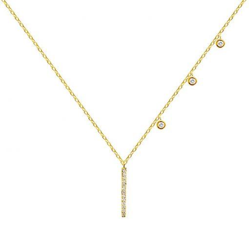 Collar Estalactita Oro. Collar de cadena dorado con charms colgantes de chatones y línea, hecho en oro con pequeños diamantes.
