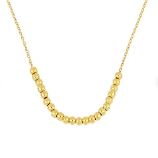 Monísimo Colgante Bolitas Oro. Collar de cadena finita de oro con bolitas doradas. Queda pegado a la clavícula.