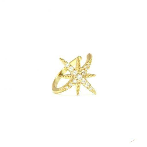 Pendiente Earcuff Orión Oro Plata Pendiente Earcuff dorado plateado con estrella bañada en paré de diamantes. Pendiente sin agujero de oro.