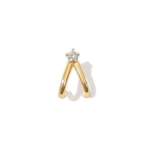 Pendiente Piercing Drop Oro ideal en el agujero principal y en piercings.Piercing en oro con diamantes y cierre de rosca.