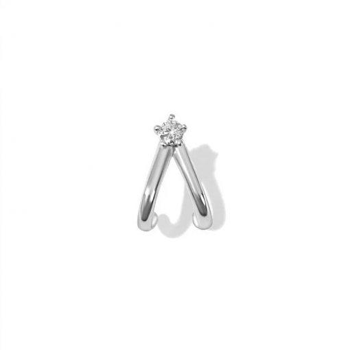 Pendiente Piercing Drop Plata ideal en el agujero principal y en piercings.Piercing en Platacon diamantes y cierre de rosca.
