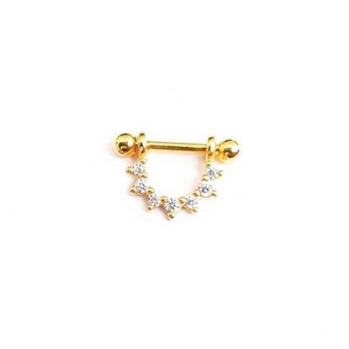 El pendiente Piercing U Brillantes Oro ideal en el agujero principal como en piercings.Piercing en oro con diamantes y cierre de rosca.