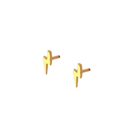 Pendientes pequeños Mini Rayo Oro son perfectos como joya minimalista. Pendientes mini en forma de rayo de oro.