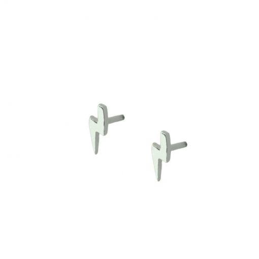 Pendientes pequeños Mini Rayo Plata son perfectos como joya minimalista. Pendientes mini en forma de rayo de Plata.