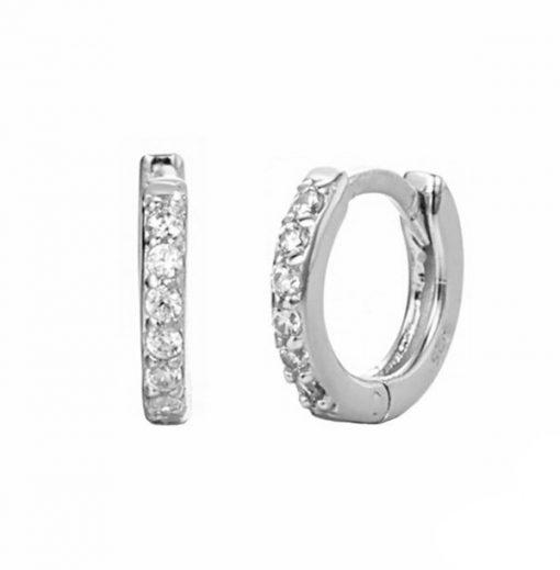 Pendientes criollas Emily Plata. Ideales pendientes de aro en plata de ley con pequeños diamantes. Un clásico.