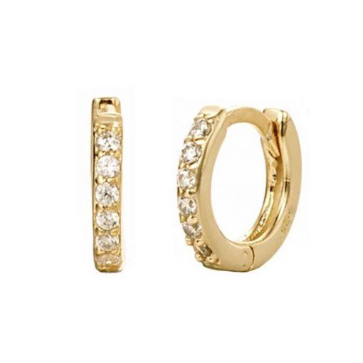 Pendientes criollas Emily Oro. Ideales pendientes de aro en plata de ley con pequeños diamantes. Un clásico.