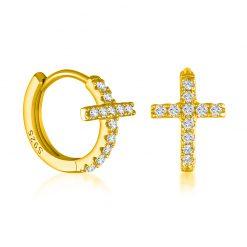 Pendientes Mini Cruz Oro. Pendientes de Aro pequeños dorados plateados de cruz mini con pequeños diamantes.