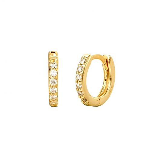 Pendientes criollas Mini Emily Oro. Ideales pendientes de aro en plata de ley con pequeños diamantes. Un clásico.