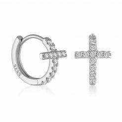 Pendientes Mini Cruz Plata. Pendientes de Aro pequeños dorados plateados en forma de cruz con pequeños diamantes.