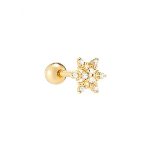 Pendiente Copo de nieve Oro. Ideales pendientes mini de oro con diamantitos y piedras. Llevar como joya principal o como piercing.