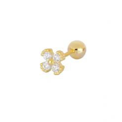 Pendiente Pétalos Oro. Ideales pendientes mini de oro con diamantitos y piedras. Llevar como joya principal o como piercing.
