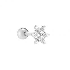 Pendiente Copo de nieve Plata. Ideales pendientes mini de Plata con diamantitos y piedras. Llevar como joya principal o como piercing.