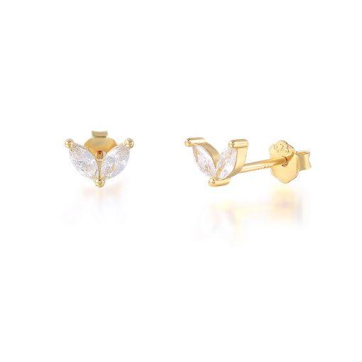 Pendientes Stud Diamantes Oro. Pequeños pendientes mini chapados en oro 18k con piedras de colores de moda.