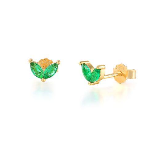Pendientes Stud Verde Oro. Pequeños pendientes mini chapados en oro 18k con piedras de colores. Joyas de moda.