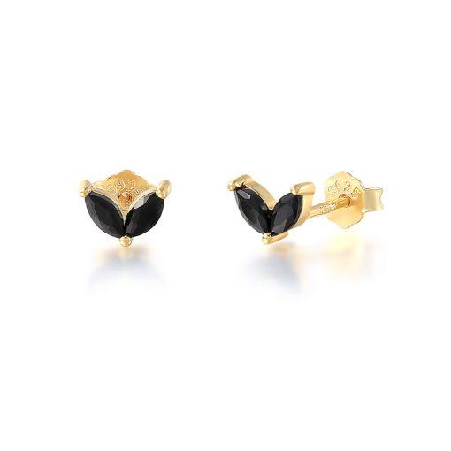 Pendientes Stud Negro Oro. Par de pequeños pendientes mini chapados en oro 18k con piedras de colores de moda.