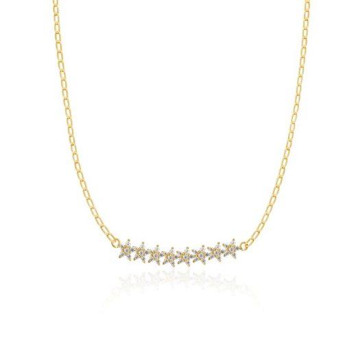 Colgante Estrellitas Oro. Colgante de cadena dorada finita con estrellitas de diamantes.
