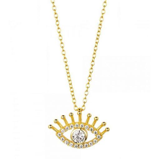Colgante Mal de Ojo Oro. Collar dorado de cadena con charm colgante en forma de ojo con diamantes, hecho en oro.