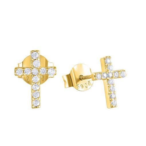 Pendientes de Cruz Brillantes Oro. Pequeños mini Pendientes cruz mujer en plata de ley 925 bañada en oro 18 k con circonitas.