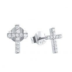 Pendientes de Cruz Brillantes Plata. Pequeños mini Pendientes cruz mujer en plata de ley 925 con circonitas.