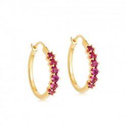 Pendientes Aro Rosa Oro con piedras de colores. Pendientes de Aro hechos en plata de ley 925 bañados en oro 18k con circonitas.