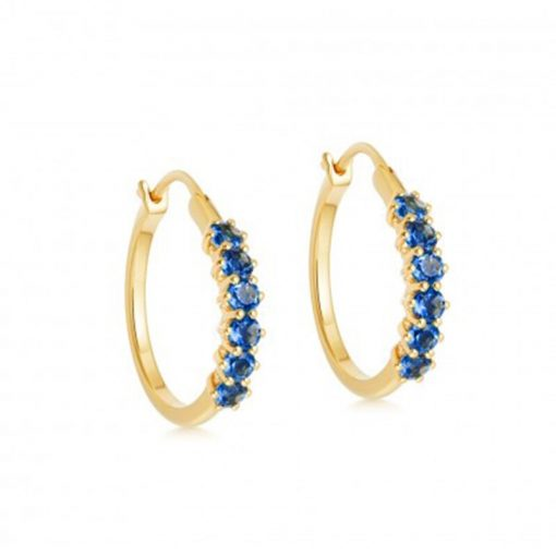 Pendientes Aro Azul Oro con piedras de colores. Pendientes de Aro hechos en plata de ley 925 bañados en oro 18k con circonitas.