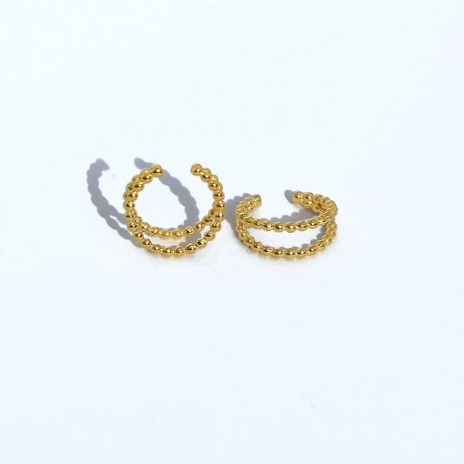 Pendientes Ear Cuff Bolitas Oro2