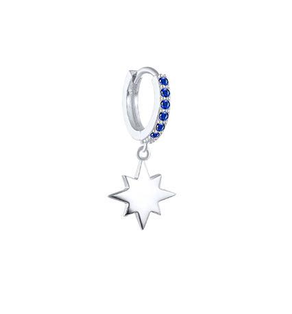 Pendiente de Aro Estrella Azul en oro 18 k o plata de ley 925. 1 Pendiente individual Aro con piedras de color, y charm colgante de estrella.