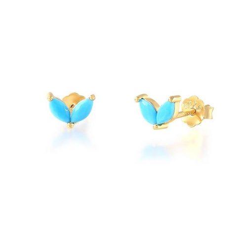 Pendientes Stud Turquesa Oro. Pequeños pendientes mini chapados en oro 18k con piedras de colores de moda.