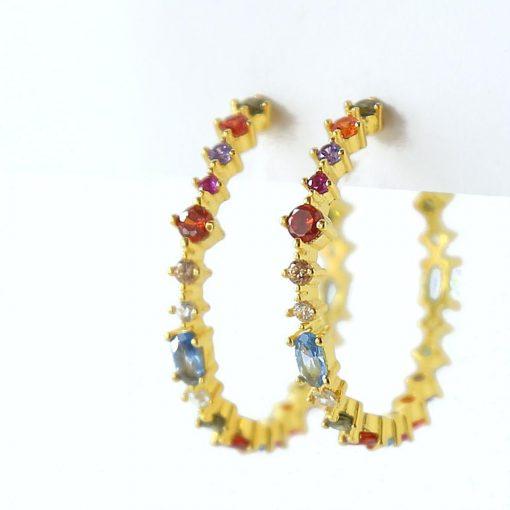 Pendientes Aro Multicolor Oro