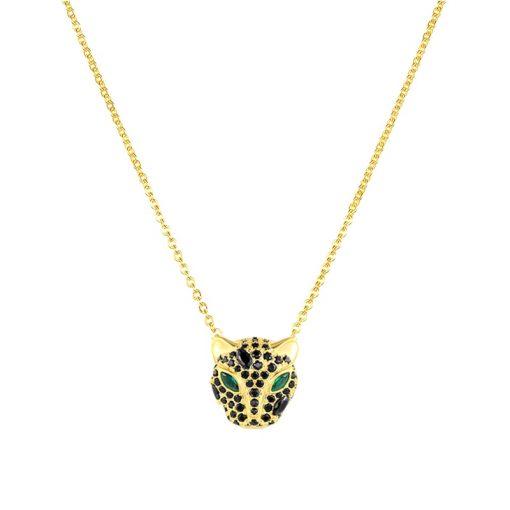 Precioso colgante Puma Diamante Negro Oro. Colgante dorado con charm en forma de puma y cadena hecho en oro 18k.